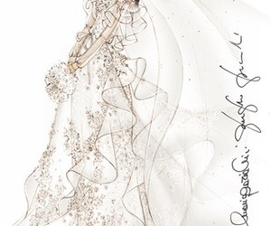 sketch, Valentino, and wedding dress image