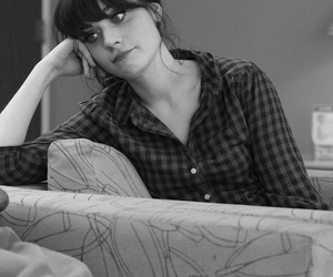 black and white and zooey deschanel image