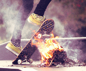 fire, skate, and boy image