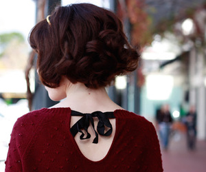 burgundy, curly, and fashion image