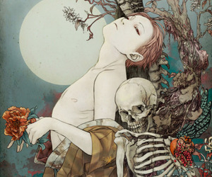 art, skeleton, and moon image