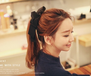 bow, brown hair, and korean image
