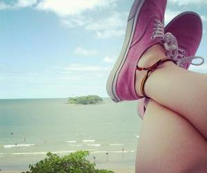 beach, shoes, and sky image