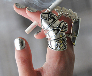 cigarette, ring, and nails image