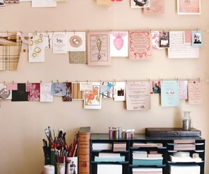 desk, papers, and organised image