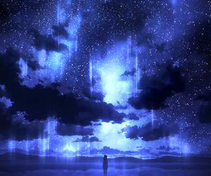 sky, stars, and anime image