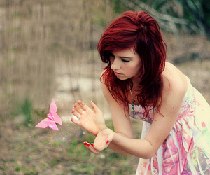 girl, butterfly, and red hair image