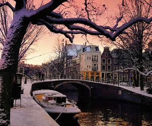 amsterdam and afterglow over canal image