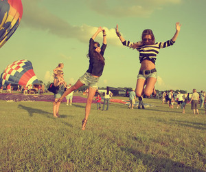 girl, friends, and jump image