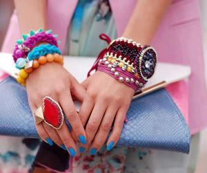 fashion, bracelet, and blue image