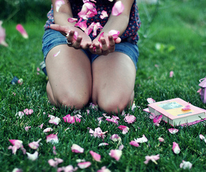 flowers, book, and girl image