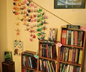 bookstore, cozy, and cranes image