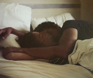 bed, kiss, and couple image