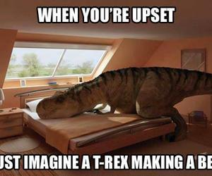 t-rex, funny, and bed image