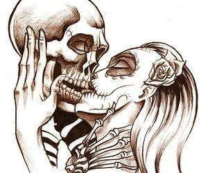 love, kiss, and skull image