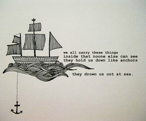 quote, anchor, and sea image