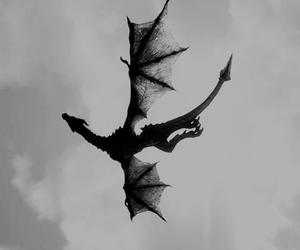 dragon, sky, and black and white image