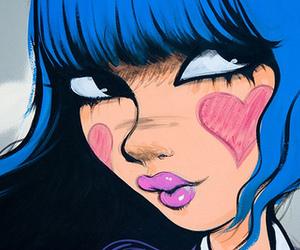 blue hair, cute, and cartoon image