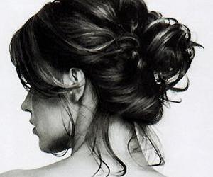 black, updo, and white image