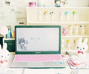 cute, laptop, and kawaii image