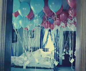 balloons, bedroom, and blue image