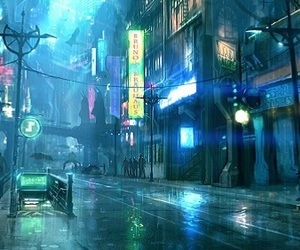 art, city, and cyberpunk image