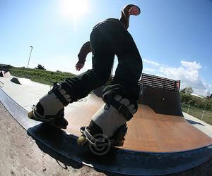rollerblade, skate park, and roller blading image