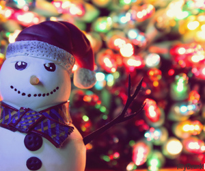 christmas, lights, and snowman image