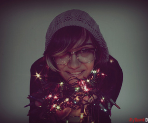 glasses, lights, and christmas image