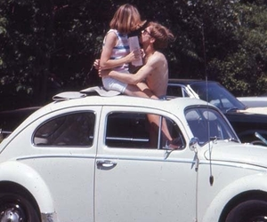 couple, vintage, and car image