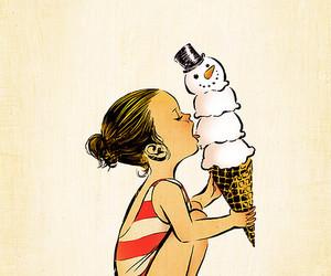 girl, ice cream, and summer image