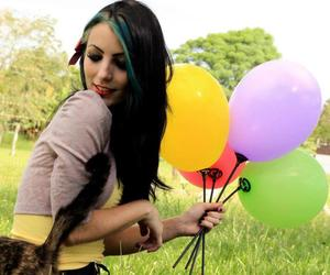balloons, blue hair, and colored image