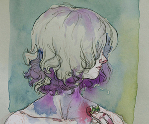 girl, strawberry, and watercolor image