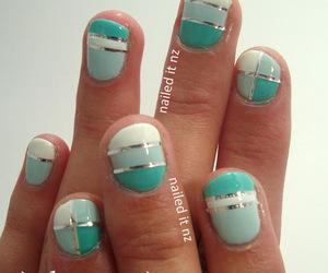 blue nails, turquoise nails, and gradient image