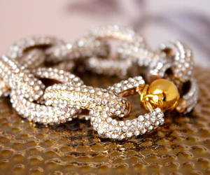 bracelet, chunky, and gold image