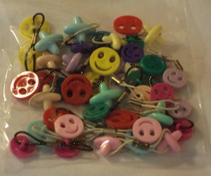 buttons, crafts, and rubber bands image