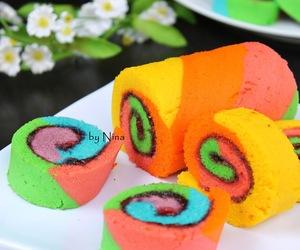 cake, rainbow, and roll cake image