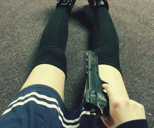 gun, grunge, and japanese image