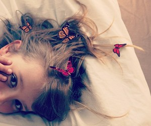 girl, butterflies, and hair image