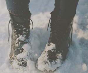 black, boots, and snow image