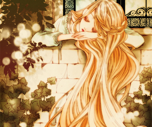 anime, blonde, and digital art image