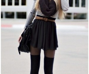 skirt, slouchy, and stockings image