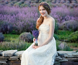 flowers, girl, and lavender image