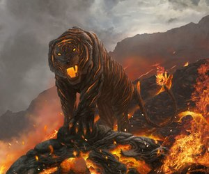 lava, tiger, and fire image