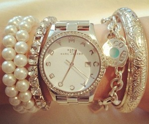 watch, marc jacobs, and pearls image