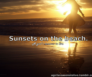 beach, sunset, and a girl's reasons to live image