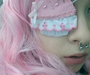eyepatch, pink, and Harajuku image