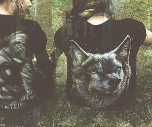 girl, wolf, and lion image
