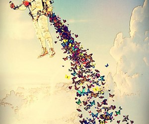 butterfly, sky, and astronaut image