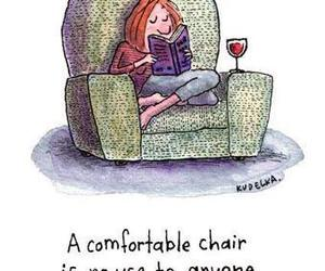 book, chair, and comfortable image